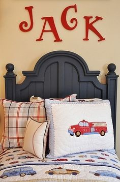 love the wall letters above the bed for a child's room! Great idea for a shared space, too!