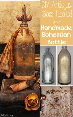 How to Antique Glass: Make a Bohemian Bottle – Gorgeous!! Wonderful technique for making glass look old! The Tutorial for the Boho Style project is great. Love this DIY home decor idea!