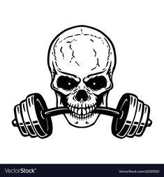 Skull with barbell in teeth. Design element for gym logo, label, emblem, sign, p… - DiyCrafts Studio Logo, Adobe Illustrator, Snake Design, Skull Design, Gym Logo, Background Design Vector, Skull Logo, Graffiti Murals, Fitness Tattoos