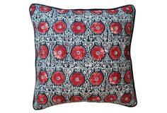 Kim Salmela | Riya 20x20 Pillow, Navy/Red | linen blend cover | feather & down insert | solid back | made in USA | $137.00 retail.
