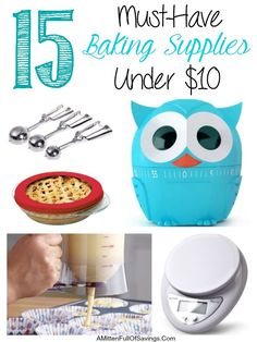 Kick of the Holiday baking season by being prepared!   Check out the must have baking supplies that YOU can score under $10 bucks!  15 Must-Have Baking Supplies Every Kitchen Needs Under $10