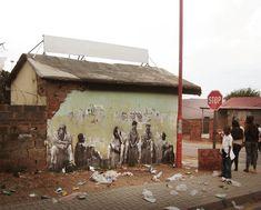 By in Johannesburg and Cape Town, South Africa - Street Art Utopia Street Art Utopia, Street Art Banksy, Stencil, Street Art Love, Wall Street, Pavement Art, City Art, Street Artists, Large Art
