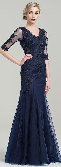 Dark navy mother of the bride/groom dress. #motherdress