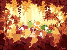 Baby Mario and the six Yoshi: Ollie, Robby, Toppie, Barney, Ted, and Steve.