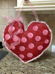 My first burlap door hanger!  Happy Valentines Day!