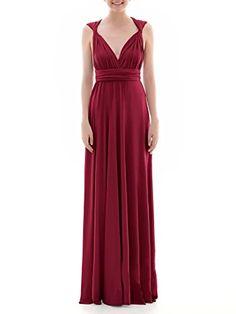 8a8b2da535f65 Nicefashion Women 039s Elegant Multi Way Wrap Convertible Infinity Long  Maxi Dress Burgundy Wedding Party