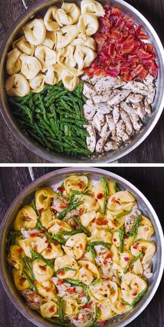 Creamy Chicken, Asparagus, and Bacon Tortellini – a delicious and quick way to cook tortellini at home! #chicken #tortellini #asparagus #chickentortellini