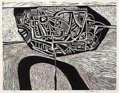 City and river by Robert Ellis Lino Cut 1964 Sense Of Place, Stippling, Make Art, Art Pieces, Carving, Year 9, Lino Prints, Ink, River