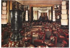 Normandie rare color photograph of Grand Salon with view of Fumoir in background circa 1935 Private collection