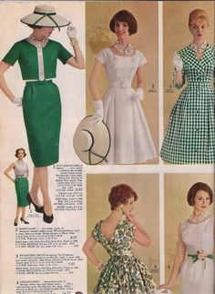 1961 Party Dresses from Spiegel Catalog - I love the green gingham! 60 Fashion, 1950s Fashion, Fashion History, Fashion Dresses, Vintage Fashion, Fashion Design, Fashion Clothes, Vintage Dresses, Vintage Outfits