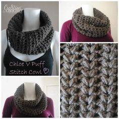 FREE pattern on Cre8tion Crochet.  Chloe V Puff Stitch Cowl