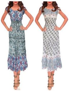 Super cute printed Maxi dress with Smocked Waist and Below Knee
