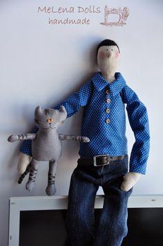 Melena Dolls by Elena Kolodko https://www.facebook.com/melenadolls Tilda Doll - Tildas - Handmade - Sewing - Tilda - Cat