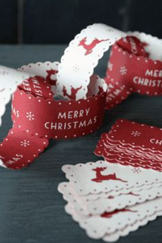 festive paper chains I am making for my tree this year, all red and white