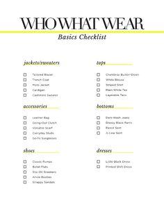 Basics Checklist