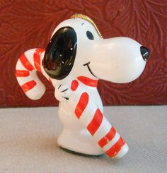 Vintage Snoopy Candy Cane Christmas Ornament United Feature Syndicate 1958 Japan