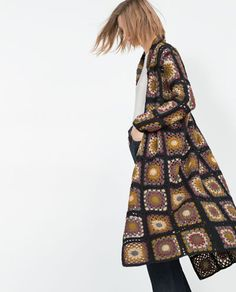 Image 4 of PATCHWORK CROCHET COAT from Zara