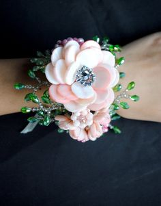 Pink Pearl and Crystal Beaded Floral Wrist Corsage, Cuff, or Bracelet, Flower or Floral Accessories, - Bea