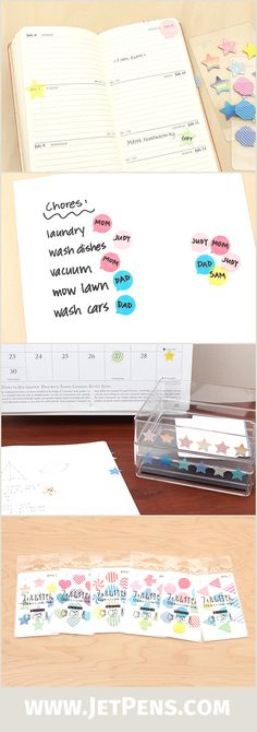 These Midori Film Sticky Notes are convenient to use, slightly transparent, and available in many patterns. Plus, they are reusable -- just peel and stick them again!
