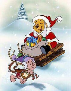 Christmas - Disney - Winnie The Pooh & Piglet Winnie The Pooh Christmas, Cute Winnie The Pooh, Winnie The Pooh Quotes, Snoopy Christmas, Christmas Cartoons, A Christmas Story, Christmas Art, Disney Cartoons, Disney Pixar