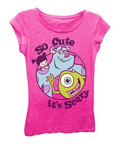 Love this Pink Monsters Inc. 'So Cute It's Scary' Cap-Sleeve Tee - Girls on #zulily! #zulilyfinds