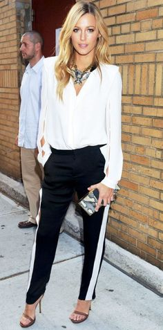 White And Black Tuxedo Pants 2017 Street Style
