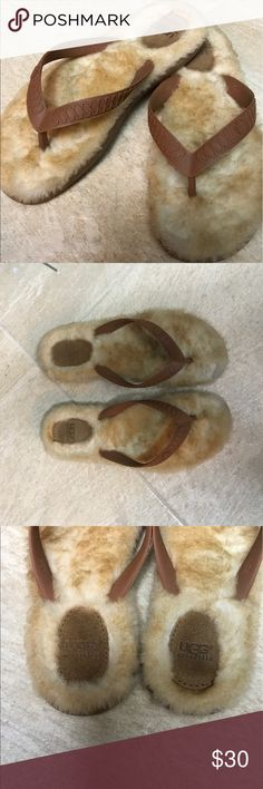 Ugg thong slippers 🦄Good  condition UGG thong slippers. Worn around the house but unfortunately I do not wear a size 7. Slight mark on one of the slippers ( see picture) UGG Shoes Slippers