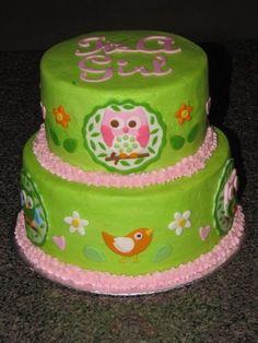 owl baby shower cake made to match nursery lamp shade. Owl Birthday Parties, Birthday Ideas, Birthday Cake, Beautiful Cakes, Amazing Cakes, Cupcakes, Cupcake Cakes, Owl Desserts, Baby Reveal Cakes