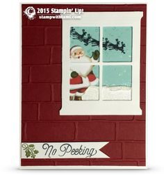 """CARD: Santa in the Window """"No Peeking"""" Card 