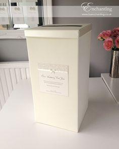 Ivory Wedding Stationery | Bespoke Design - Post Box | Featuring ivory pebble paper, bridal white satin ribbon and pretty bow embellishment | Luxury handmade wedding invitations and stationery #byenchanting