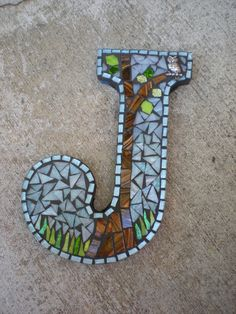 Owl in a Tree Woodland Forest Mosaic Monogram Letter J. $45.00, via Etsy.  LOVE THE OWL!!