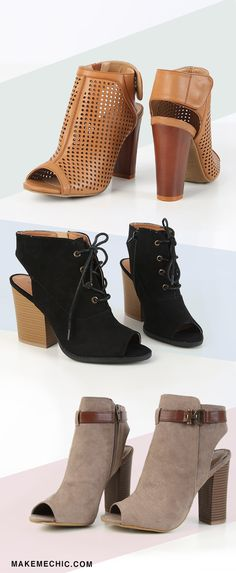 """This season's ankle boot selection has got us on the edge of our seats! We can't help but want more! Who can blame us with those stacked heels, heel cut outs and rustic accents just screaming """"buy me!"""" Go for a flawless daytime ensemble by pairing them with a flowy romper and a floppy oversized hat. Perfect for brunch or for a shopping date with your girls- these trusty peep toe booties are comfy yet chic! Whatever you do, don't sleep on these must-have essentials! #boho"""