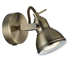 Antique Brass Finish Vintage Retro Style 1 Way Wall or Ceiling Spotlight Fitting with 1 x 50 Watt Halogen GU10