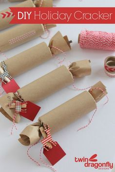 "DIY Holiday Cracker - Please please do not buy ""craft tubes"" to make these. RECYCLE and use TP or paper towel tubes."