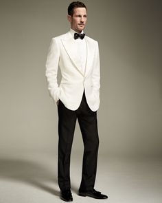 TOM FORD Windsor Base Dinner Jacket, White - You are in the right place about hair Makeup Here we offer you the most beautiful pictures about t - Mens White Suit, White Tuxedo Jacket, Tuxedo Coat, White Suits, Groom Tuxedo, Tom Ford Tuxedo, Tom Ford Suit, Modern Mens Fashion, Mens Fashion Suits