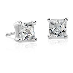 Blue Nile Princess-Cut Diamond Stud Earrings ($7,750) ❤ liked on Polyvore featuring jewelry, earrings, stud earrings, blue nile, diamond jewellery, diamond earrings and 14k jewelry