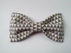 Geometric fabric hair bow gray and white hair bow by GabeAndJuju