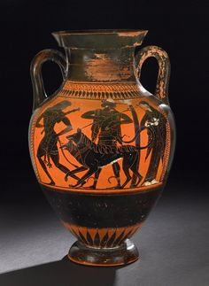 Pottery: black-figured amphora: Herakles leading away Kerberos.