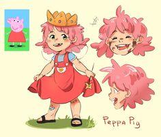 Cartoon Characters As Humans, Cartoon Movies, Anime Characters, Cute Art Styles, Cartoon Art Styles, Humanized Disney, Anime Vs Cartoon, Art Style Challenge, Pig Character