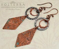 Hammered Copper Earrings Boho Urban Chic by SunStones on Etsy