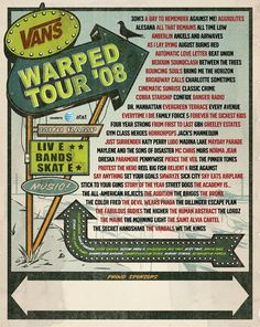 Warped Tour Event Poster: inspiration for a case study. Warped Tour, Festival Posters, Concert Posters, Dr Manhattan, Cobra Starship, August Burns Red, Tour Posters, Event Posters, Band Posters