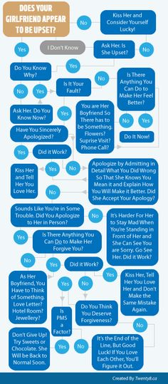 Infographic Flow Chart: Does Your Girlfriend Appear to be Upset? Tips for Your Boyfriend When He's Done Something Wrong
