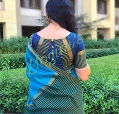 Latest saree blouse neck designs for 2018 ArtsyCraftsyDad Blouse Designs High Neck, Cotton Saree Blouse Designs, Patch Work Blouse Designs, Simple Blouse Designs, Stylish Blouse Design, Pattern Blouses For Sarees, Sari Blouse, Latest Saree Blouse Designs, Latest Sarees