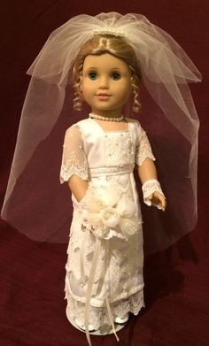 American Girl wedding gown by Tiny Trousseau, ivory, satin, wedding gown styled in the Victorian/Edwardian era is a OOAK collectors piece. Inspired by gowns worn
