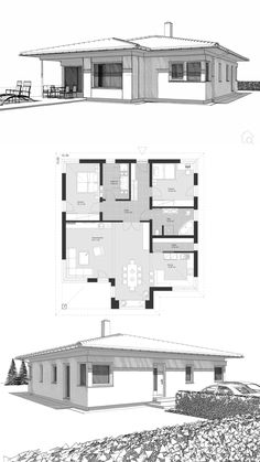 Bungalow House Plans with One Level & Open Floor Concept Modern Contemporary European Styles - Architecture Design ELK Bungalow 125 Layout by ELK Haus - Dream Home Ideas with Hip Roof & Interior with…More One Floor House Plans, House Plans One Story, Family House Plans, Modern House Plans, Small House Plans, Drawing House Plans, Home Design Floor Plans, Modern Bungalow House, Bungalow House Plans