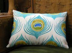 peacock feather linen pillow