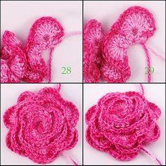 FREE PATTERN ~ Crocheted Rose tutorial. ✿Teresa Restegui http://www.pinterest.com/teretegui/✿