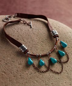 Soulfully Worn Turquoise & Leather Teardrop Necklace | zulily