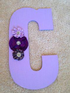 Girl Letter. Purple Teen Room Decor for Cristina