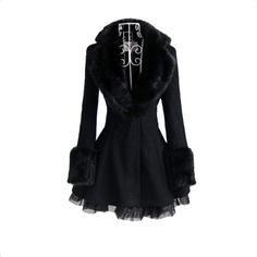 Women Fur Collar Lace Side Woolen Trench Coat Long Slim Dress Outerwear Black Free Shipping!  - US$57.22